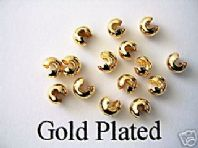 50 Gold Plated 3mm Crimp Cover Beads